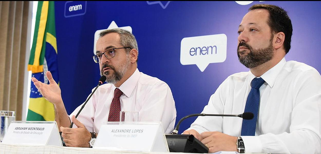 Ministro da Educação, Abraham Weintraub, e o Alexandre Lopes, presidente do Inep
