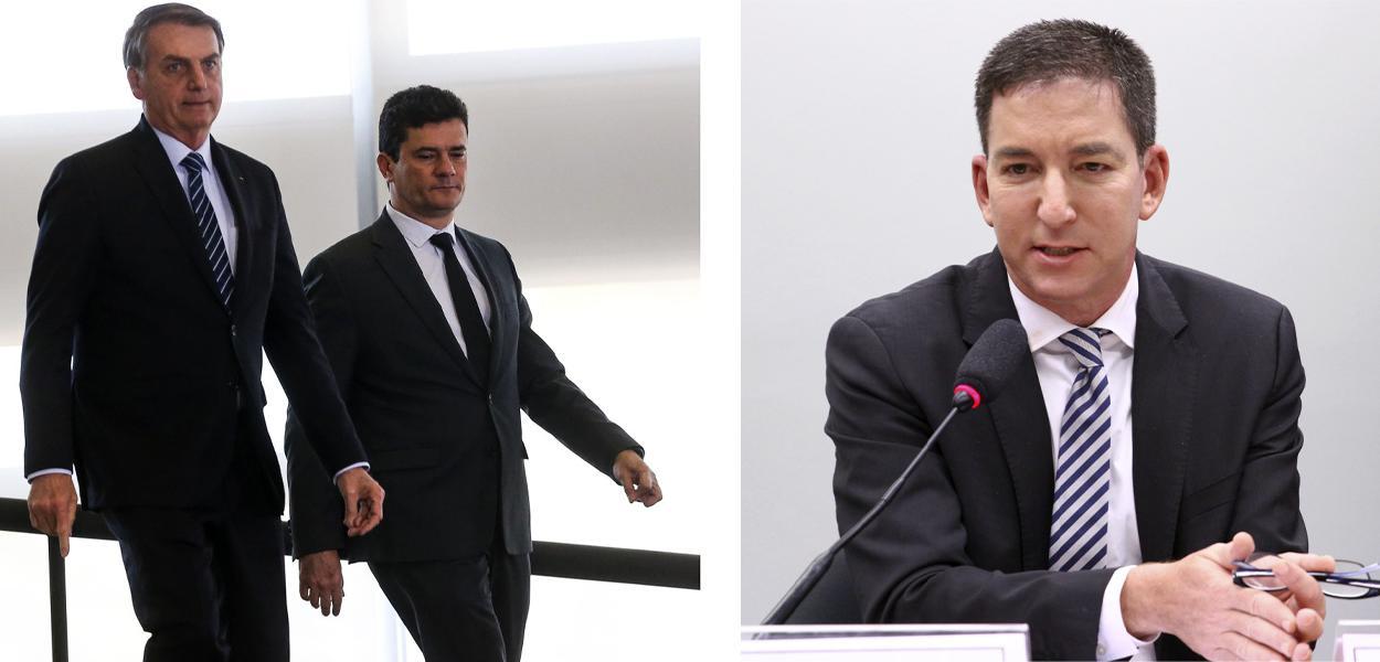 Jair Bolsonaro, Sérgio Moro e Glenn Greenwald