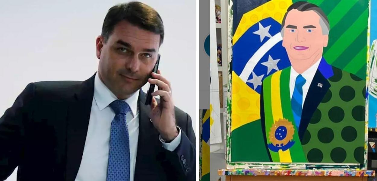 Flávio Bolsonaro e quadro de Romero Britto