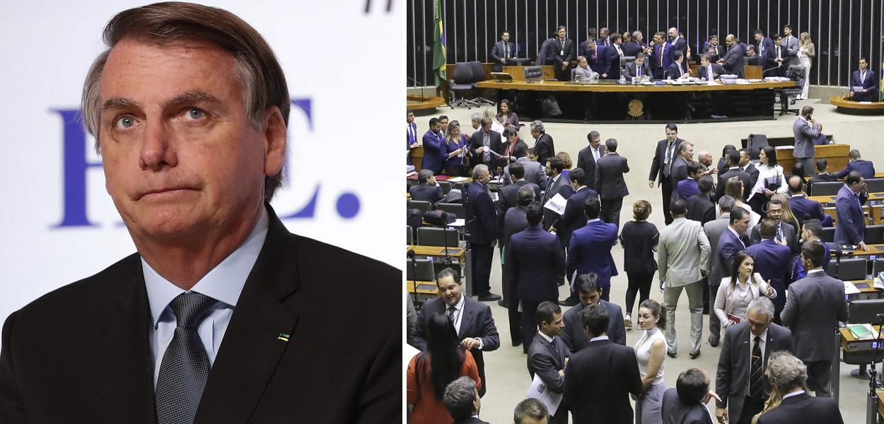 Jair Bolsonaro e plenário da Câmara dos Deputados