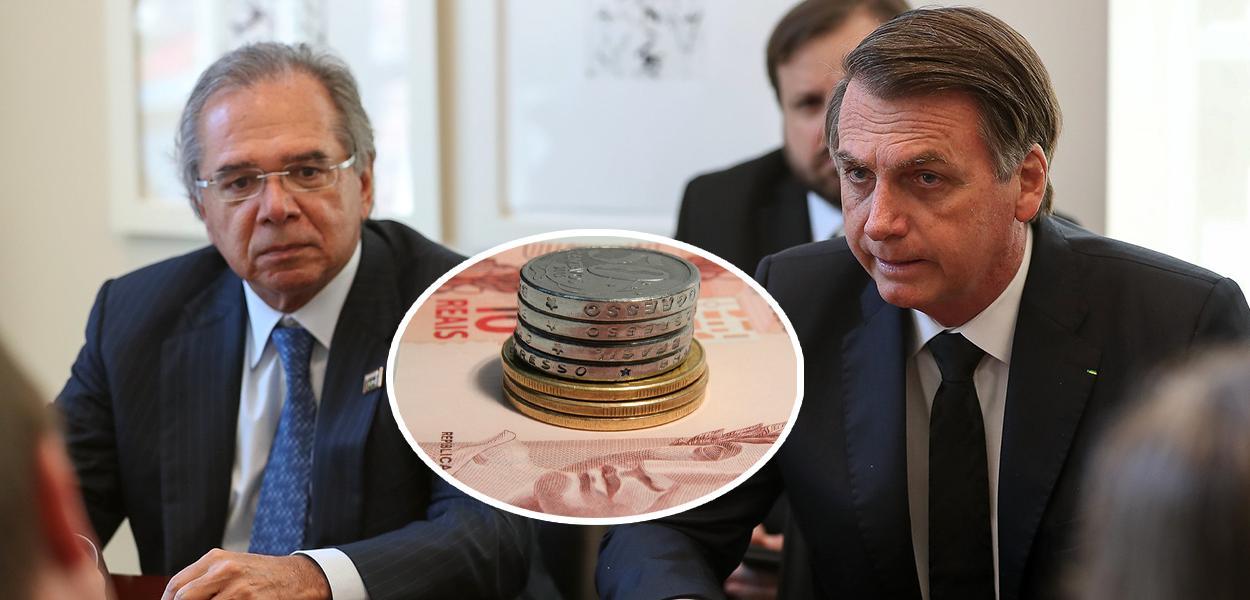 Jair Bolsonaro acompanhado do Ministro da Economia Paulo Guedes
