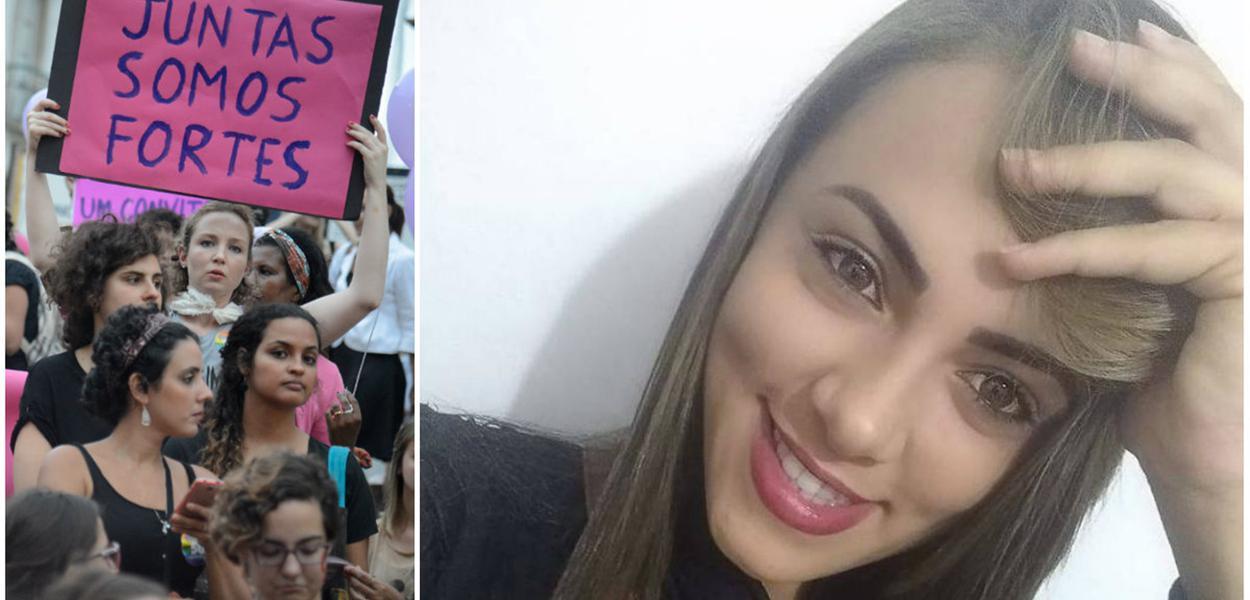 Manifestação contra feminicídio. Raquel Bonfim de Santana Araújo foi mais uma vítima