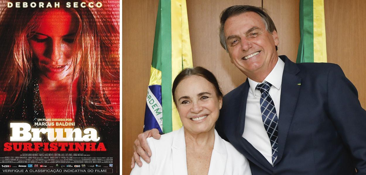 Cartaz do filme Bruna Surfistinha, Regina Duarte e Jair Bolsonaro