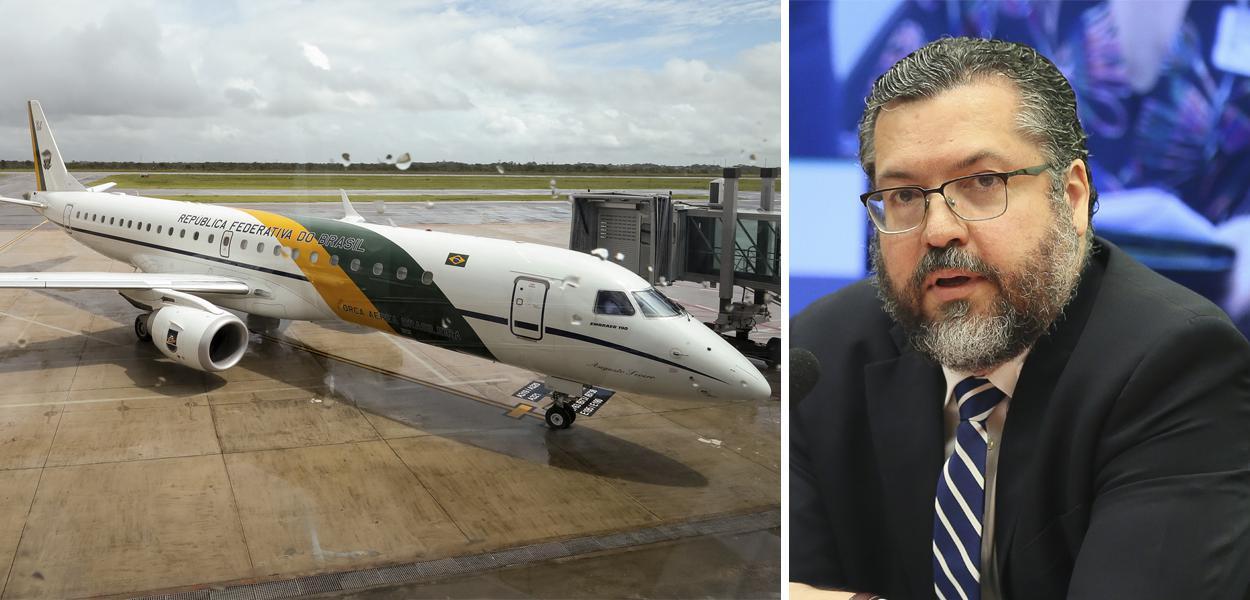 Avião da FAB e Ernesto Araújo