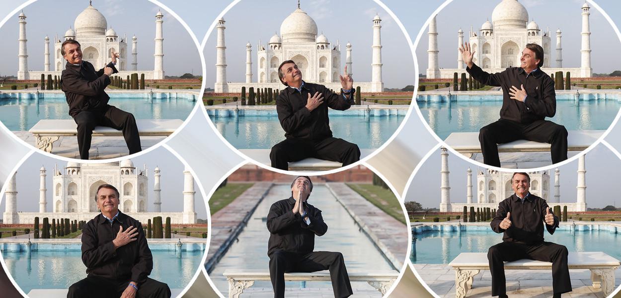 Jair Bolsonaro durante visita ao Taj Mahal