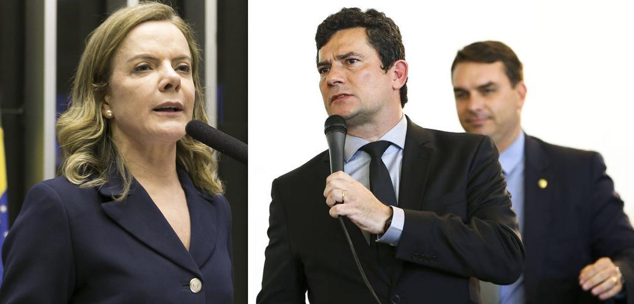 Gleisi Hoffmann, Sérgio Moro e Flávio Bolsonaro ao fundo