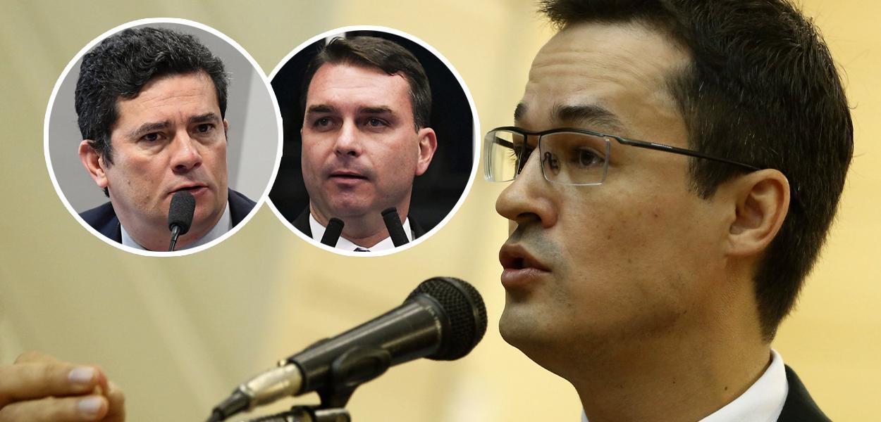 Sérgio Moro, Flávio Bolsonaro e Deltan Dallagnol
