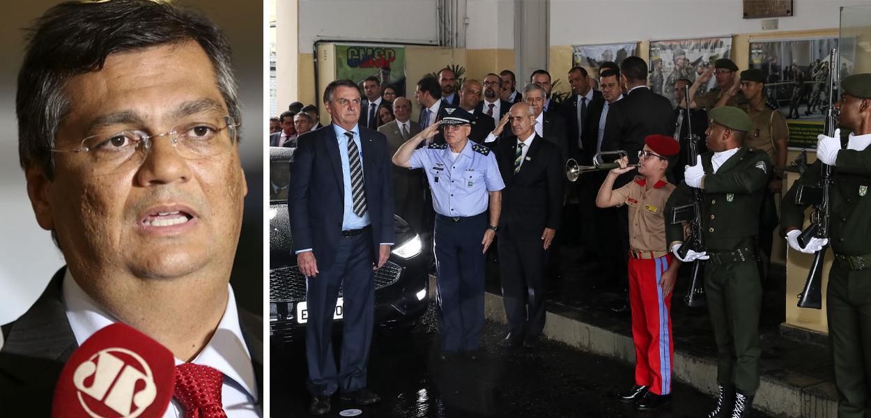 Flávio Dino e Bolsonaro em inauguração da pedra fundamental do Colégio Militar de São Paulo