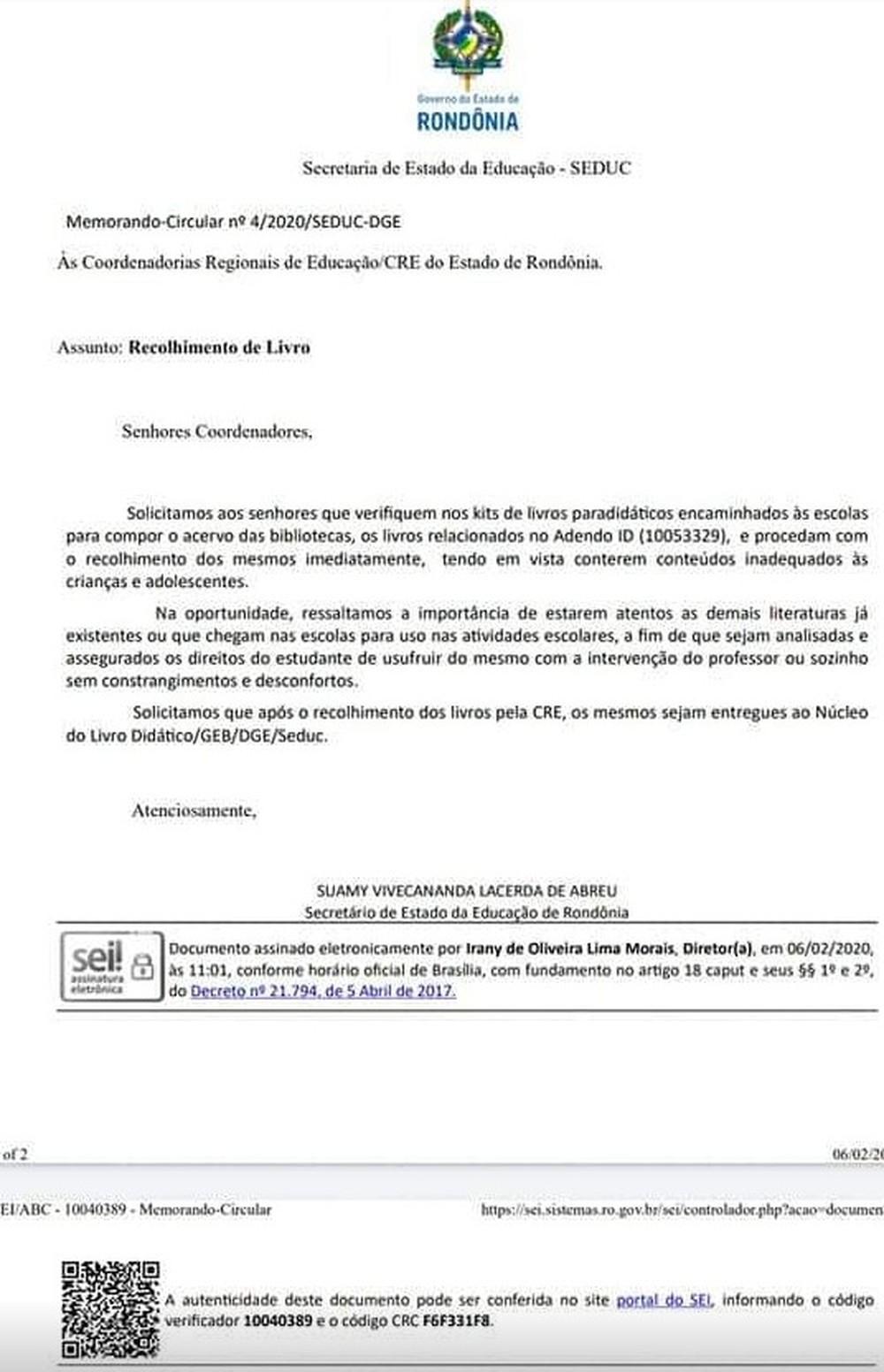 secretari educação rondonia