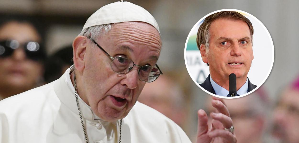 Papa Francisco e Jair Bolsonaro no detalhe