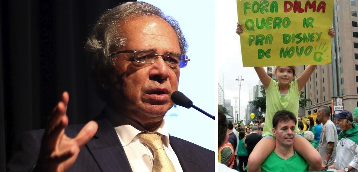 Paulo Guedes e manifestantes