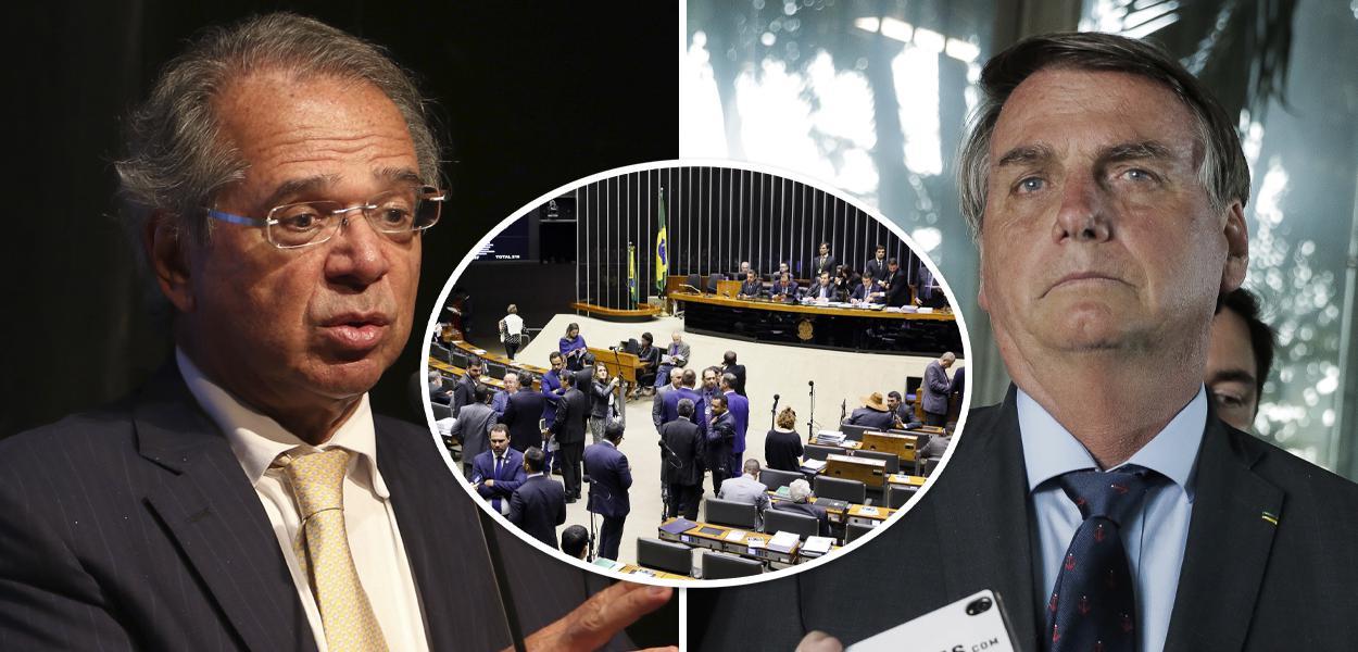 Paulo Guedes, plenário da Câmara dos Deputados e Jair Bolsonaro
