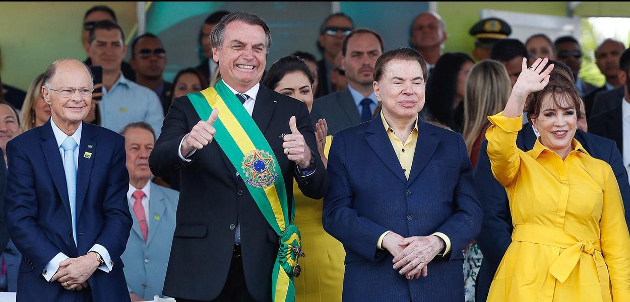 Presdiente da República, Jair Bolsonaro, Pastor Edir Macedo e Silvio Santos durante  desfile Cívico por ocasião do Dia da Pátria.