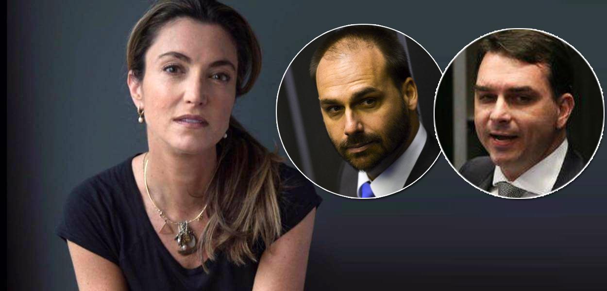 Patricia Campos Mello, Eduardo e Flávio Bolsonaro