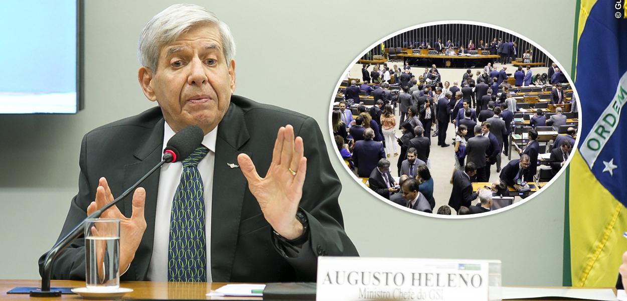 General Augusto Heleno e Plenário da Câmara dos Deputados