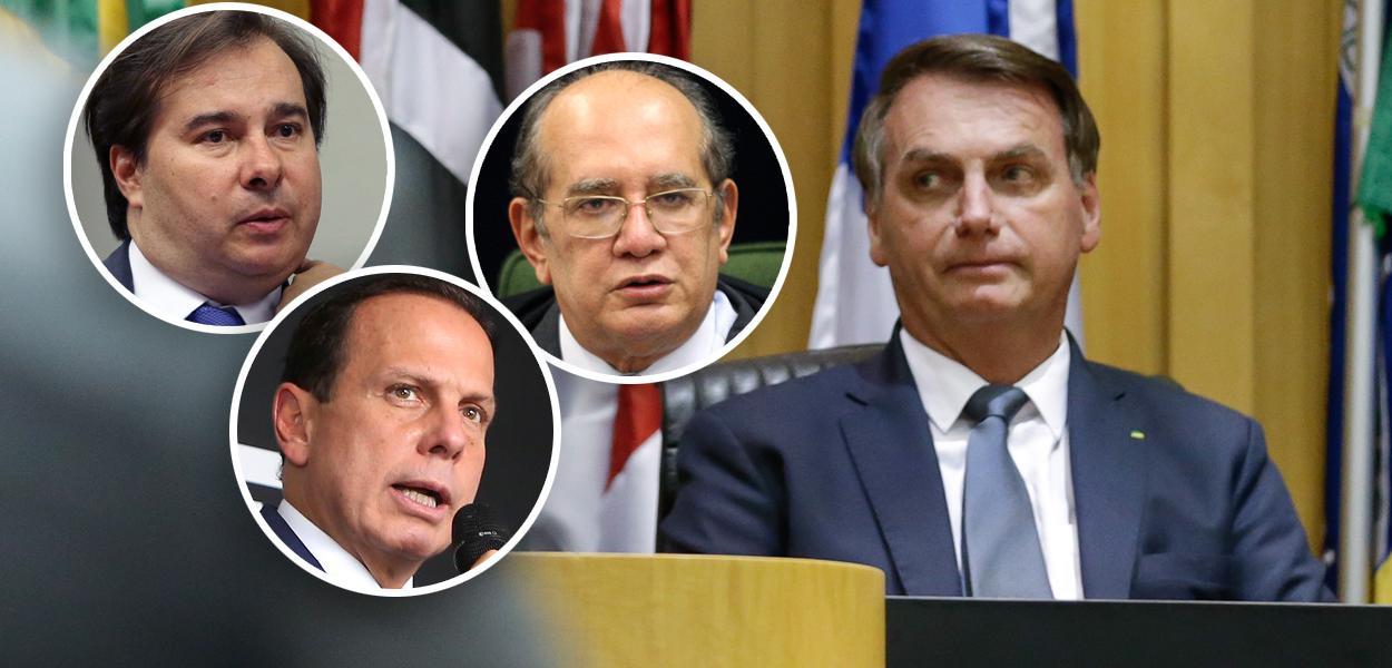 Rodrigo Maia, Gilmar Mendes, João Doria e Jair Bolsonaro