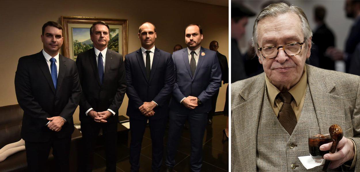 Flávio, Jair, Eduardo e Carlos Bolsonaro; Olavo de Carvalho