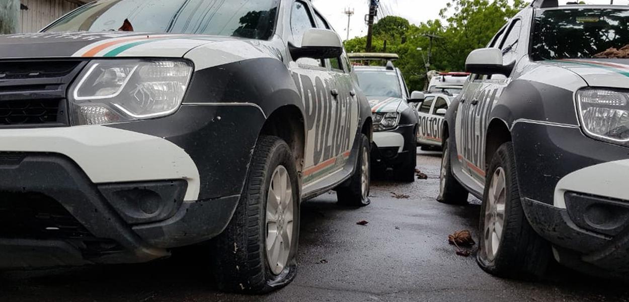 Manifestantes furam pneus de viaturas no Ceará