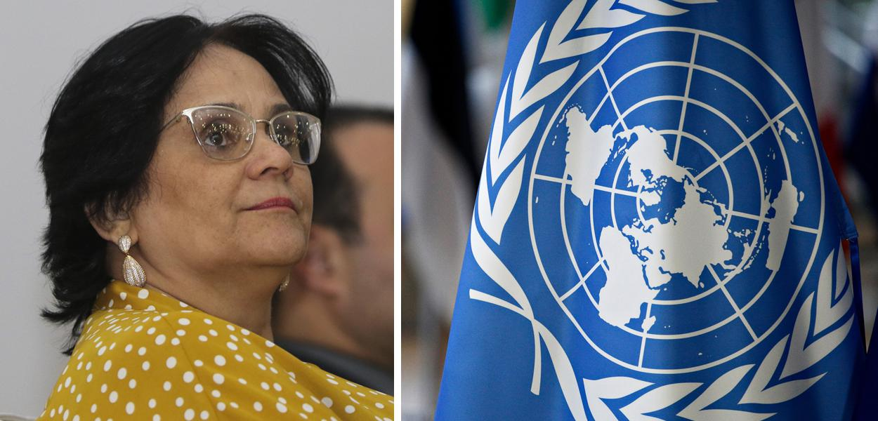 Damares Alves; bandeira da ONU