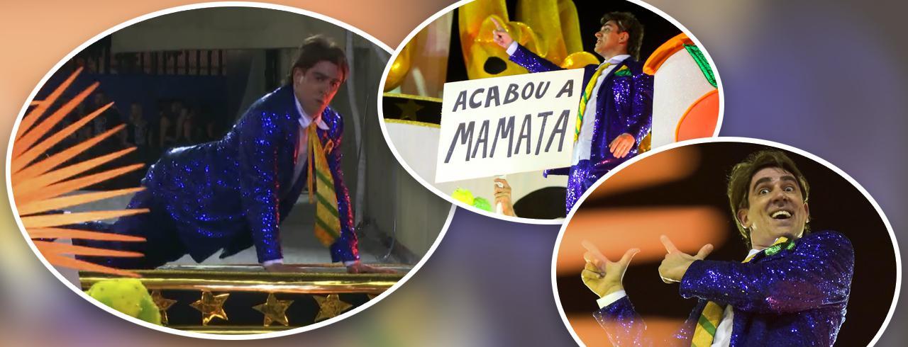 Marcelo Adnet desfila pela Escola de Samba São Clemente