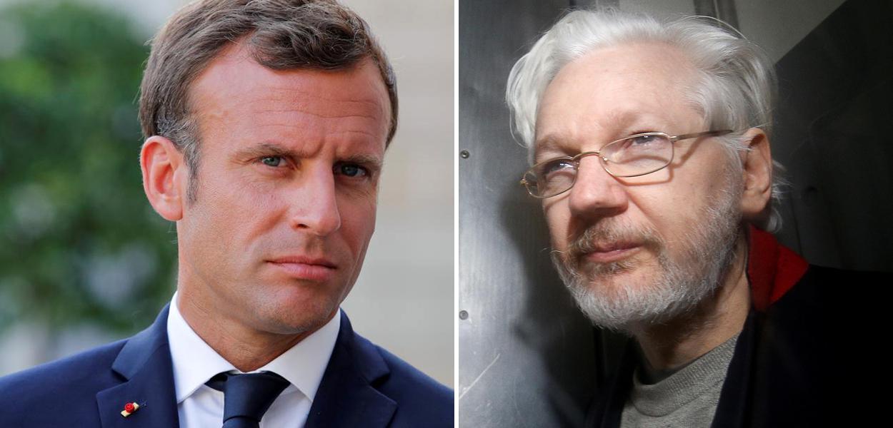 Emmanuel Macron e Julian Assange