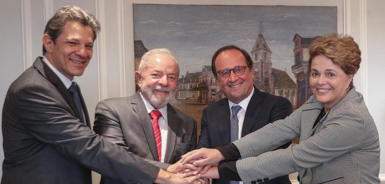 Fernando Haddad, Lula, François Hollande e Dilma Rousseff