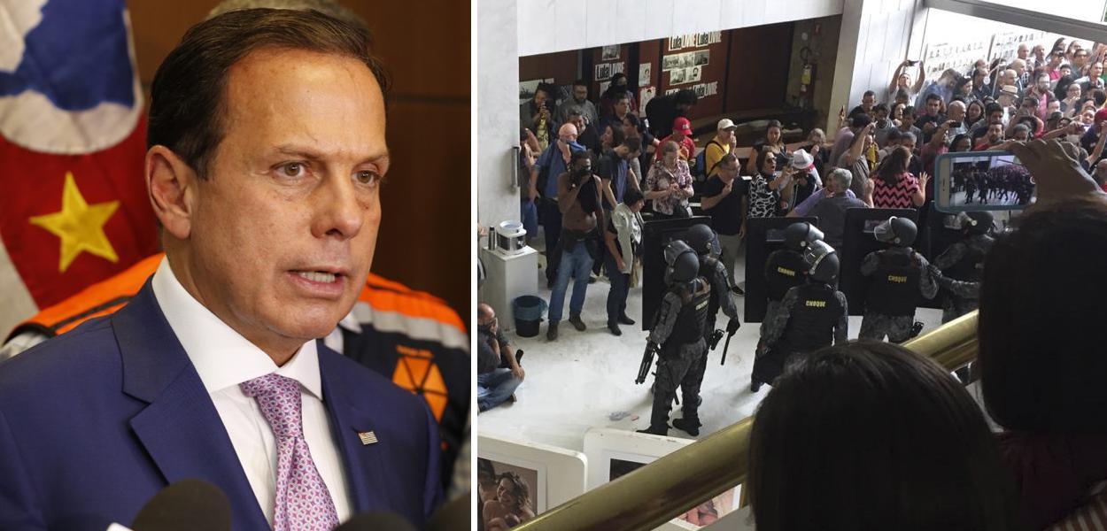 João Doria; Polícia de Choque da PM na Assembléia Legislativa de São Paulo durante votação da Reforma da Previdência