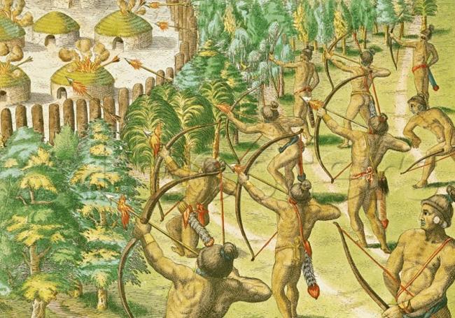 Guerras tribais entre índios norte-americanos (Ilustração)