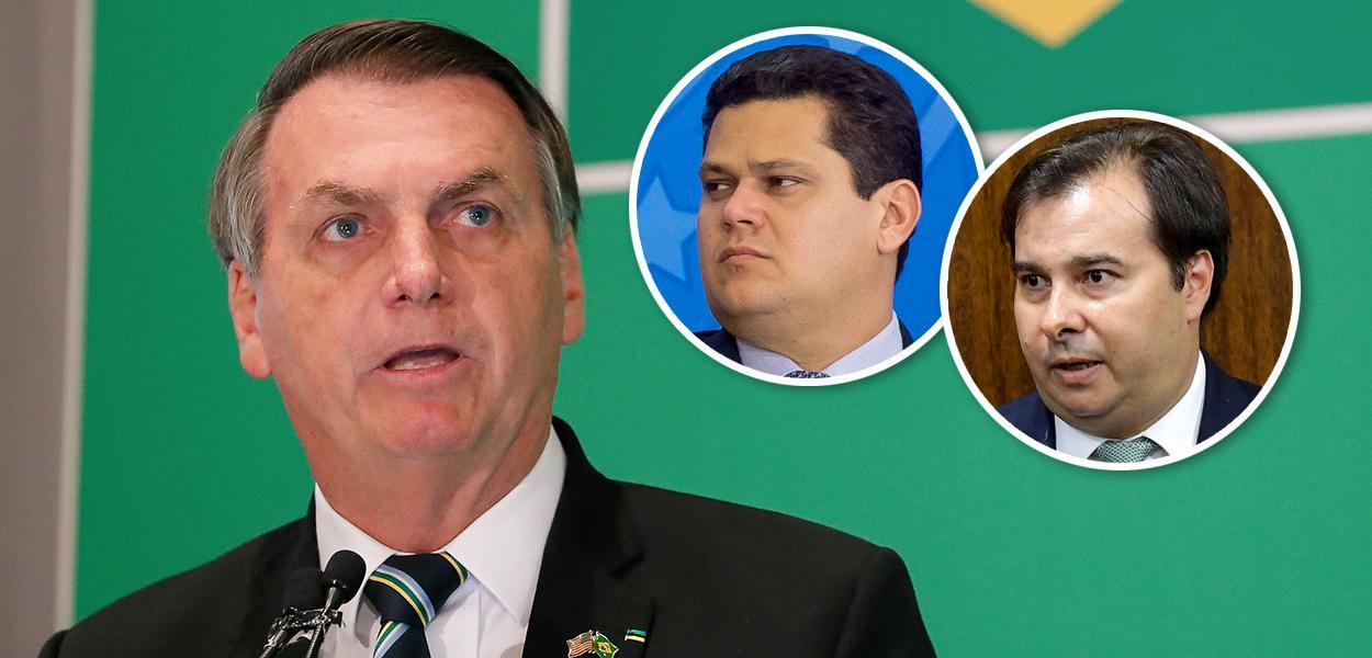 Jair Bolsonaro; Davi Alcolumbre e Rodrigo Maia no detalhe