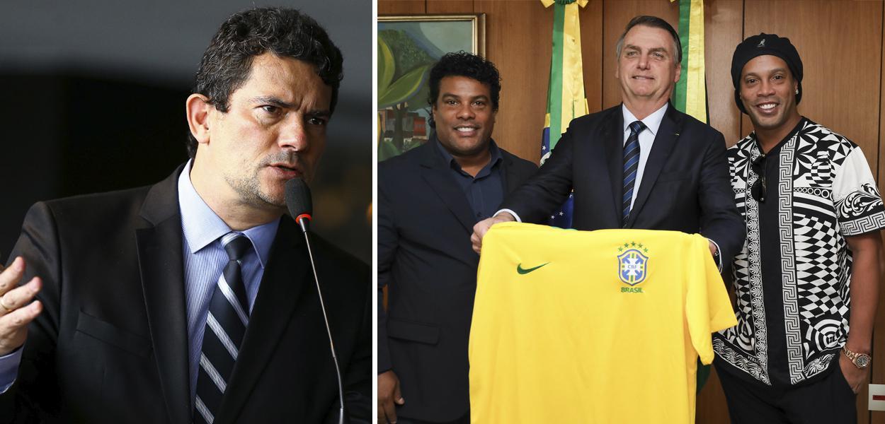 Sérgio Moro; Assis, Jair Bolsonaro e Ronaldinho
