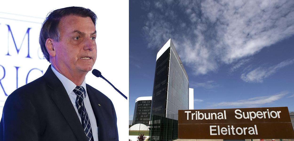 Jair Bolsonaro e fachada do Tribunal Superior Eleitoral