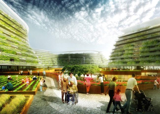 Visão futurista (ilustração) de fazenda vertical interna