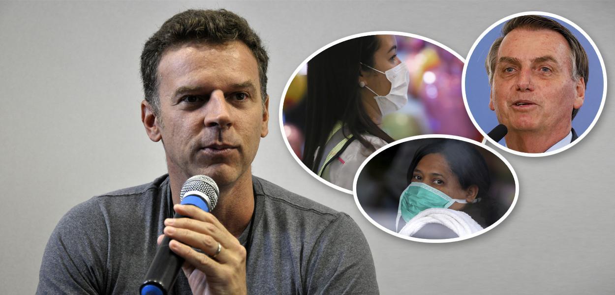 Eduardo Moreira; pessoas com máscaras e Jair Bolsonaro