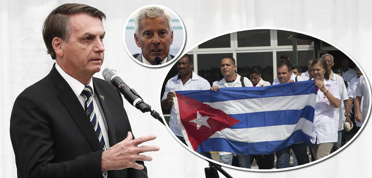 Jair Bolsonaro, secretário-executivo do ministério da Saúde, João Gabbardo no detalhe e médicos cubanos