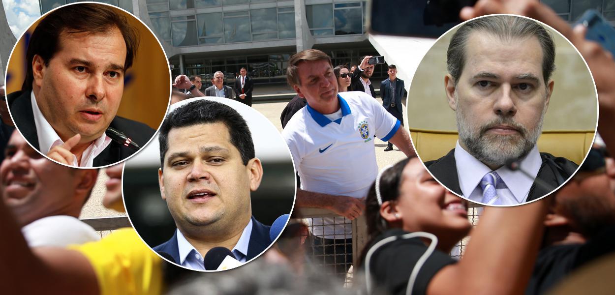 Rodrigo Maia, David Alcolumbre, José Dias Toffoli e Jair Bolsonaro