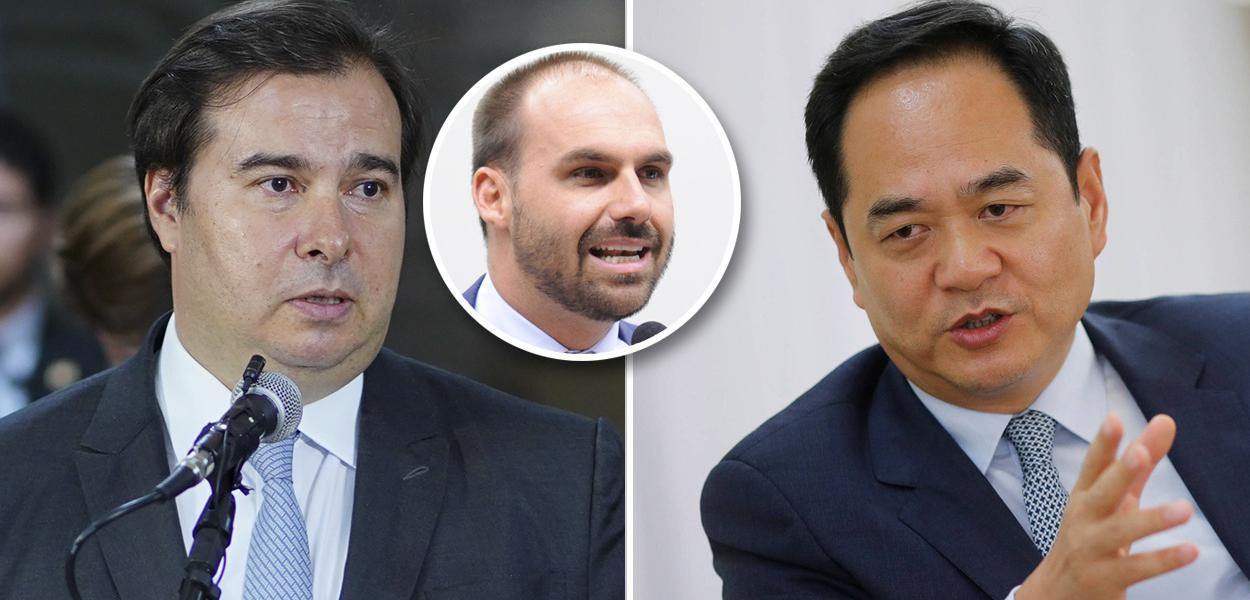 Rodrigo Maia, Eduardo Bolsonaro e Yang Wanming