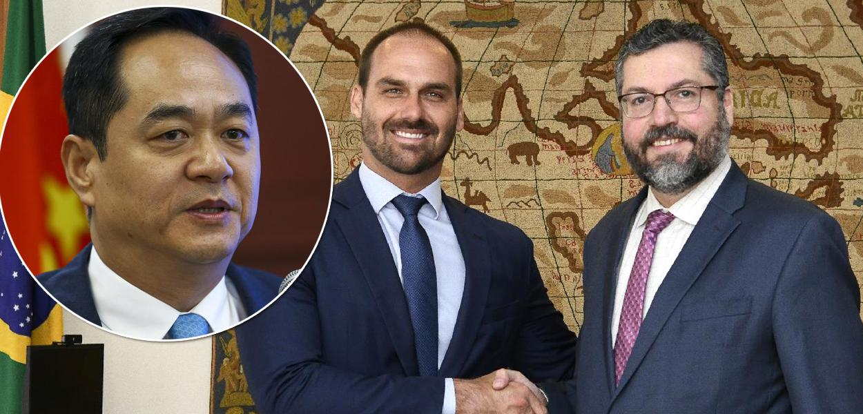 Embaixador da China no Brasil, Yang Wanming, Eduardo Bolsonaro e Ernesto Araújo