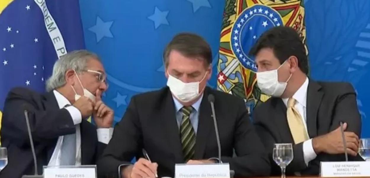 Paulo Guedes, Jair Bolsonaro e Luiz Henrique Mandetta