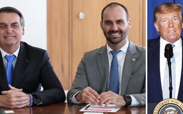 Jair e Eduardo Bolsonaro; Donald Trump