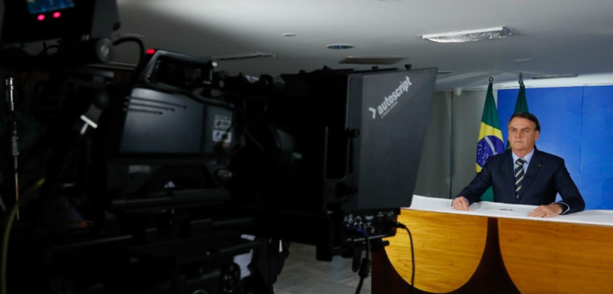 Jair Bolsonaro em pronunciamento em cadeia e rádio e TV