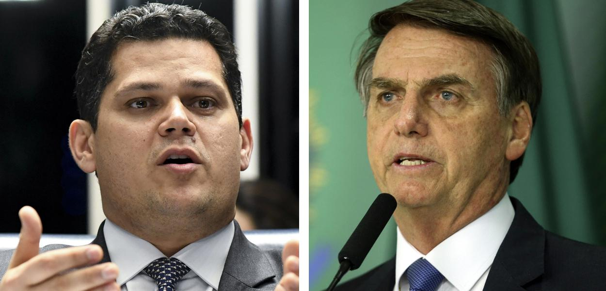 Presidente do Senado, Davi Alcolumbre, e Jair Bolsonaro