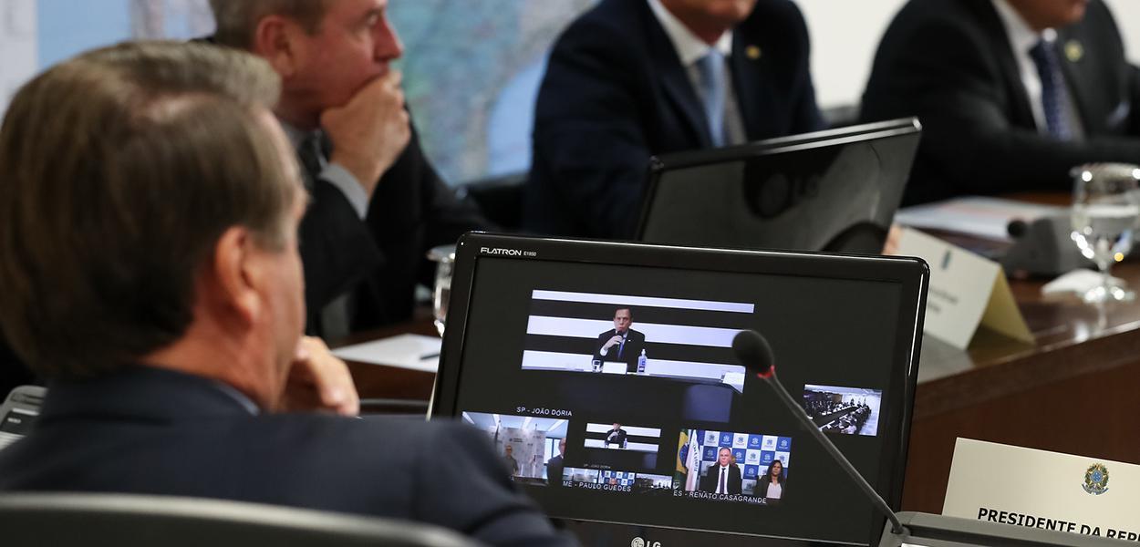 Jair Bolsonaro, durante videoconferência com Governadores do Sudeste.