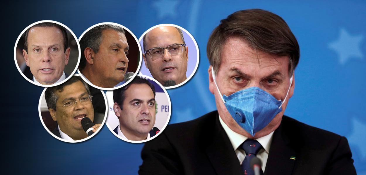 João Doria, Rui Costa, Wilson Witzel, Flávio Dino, Paulo Câmara e Jair Bolsonaro