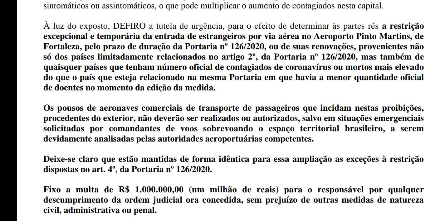 Juiz federal determinou o impedimento do desembarque de todos os estrangeiros em Fortaleza. Inclusive norte-americanos.