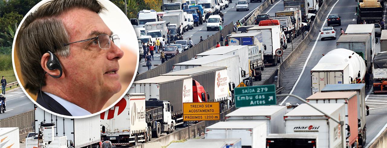 Jair Bolsonaro e caminhoneiros em greve