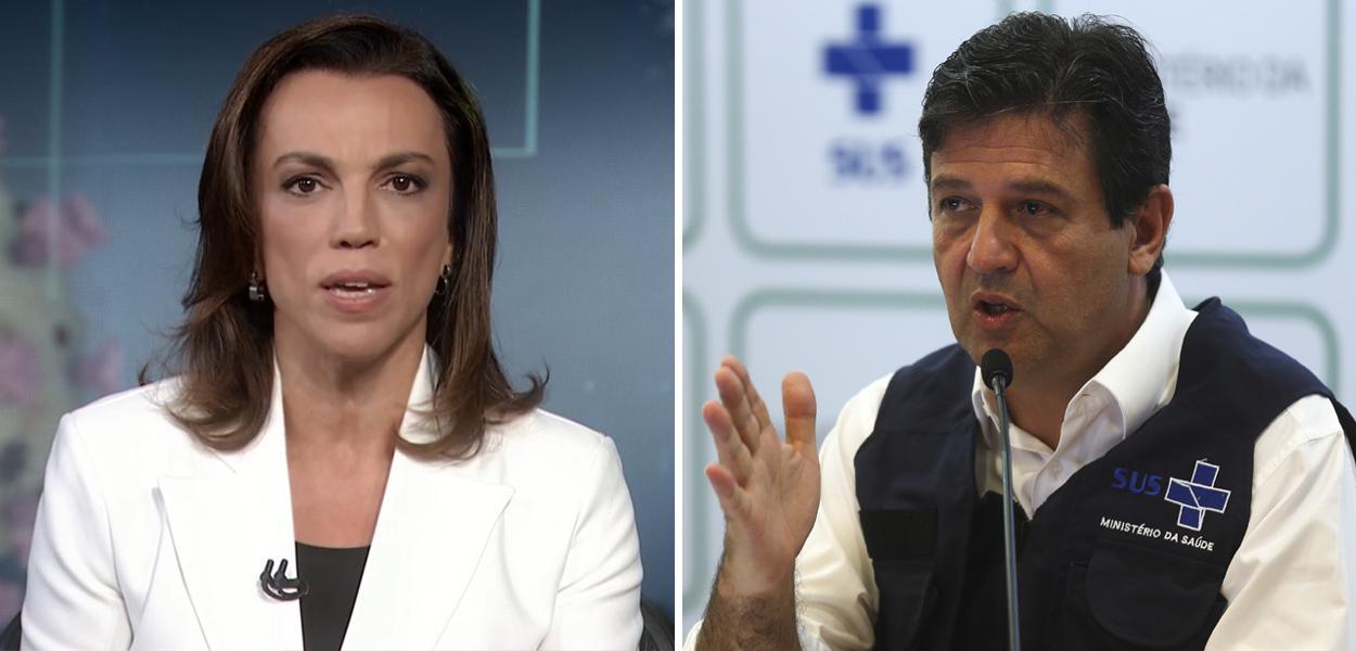 Jornalista Ana Paula Araújo e ministro da Saúde, Luiz Henrique Mandetta
