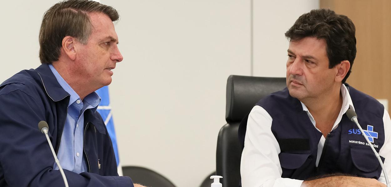 Jair Bolsoanro e o ministro da Saúde, Luiz Henrique Mandetta