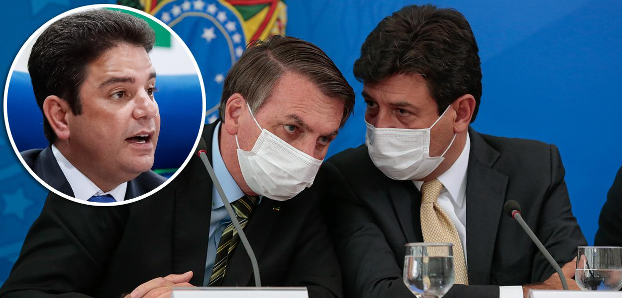 Gladson Cameli; Jair Bolsonaro e Luiz Henrique Mandetta