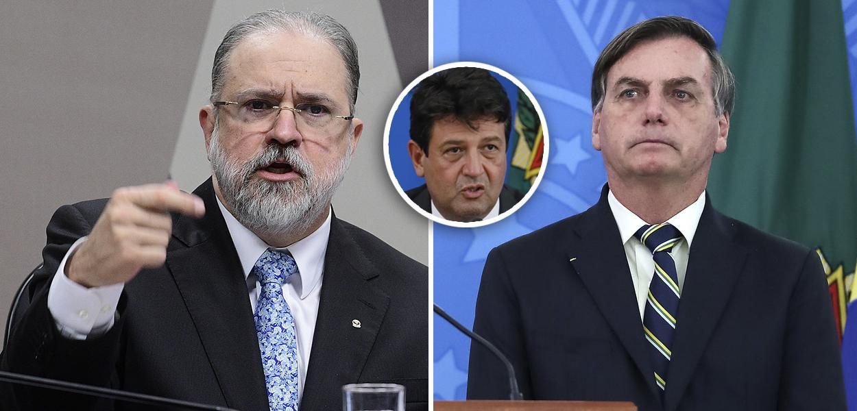 Augusto Aras, Luiz Henrique Mandetta no detalhe e Jair Bolsonaro