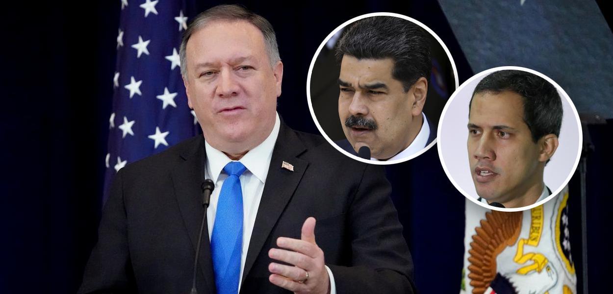 Mike Pompeo, Nicolás Maduro e Juan Guaidó